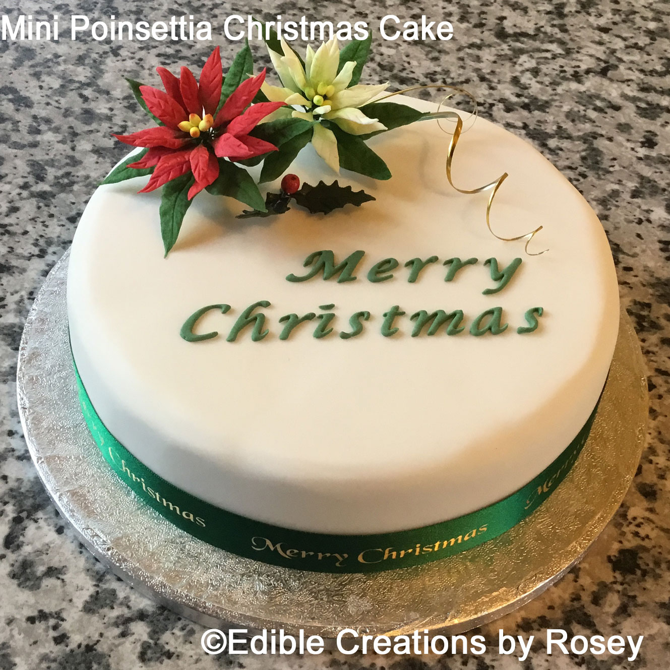 Mini Poinsettia Christmas Cake