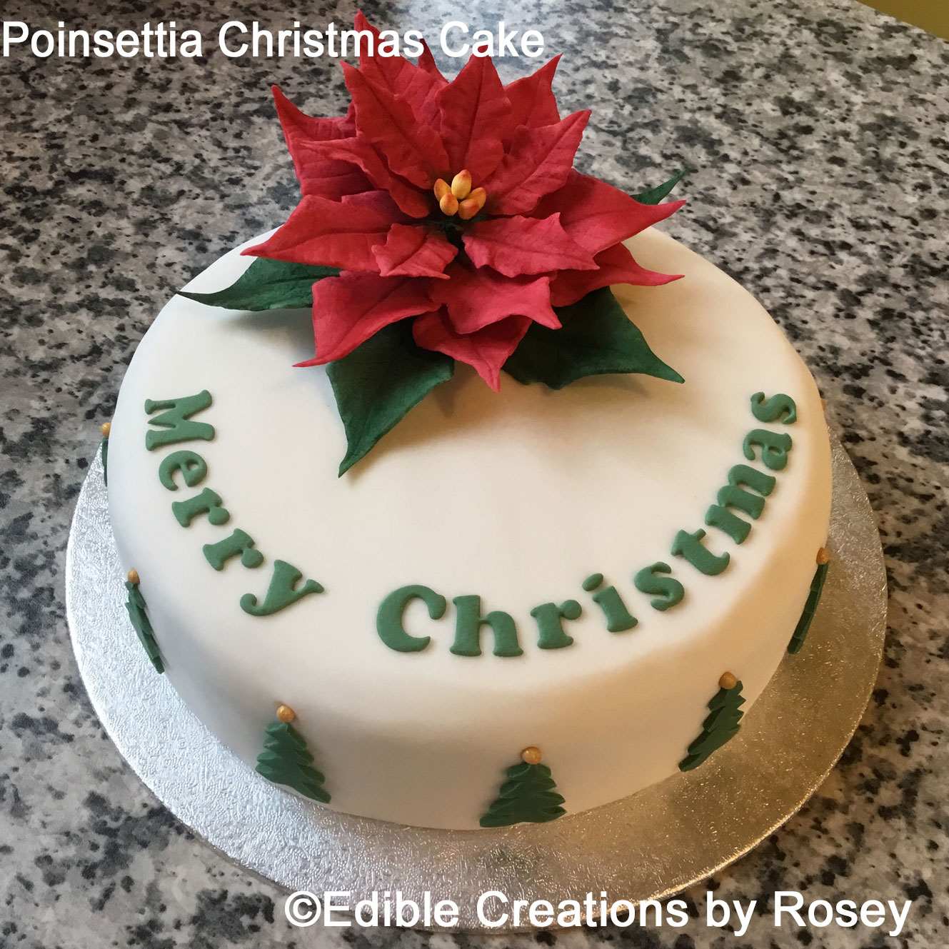 Poinsettia & Trees Christmas Cake