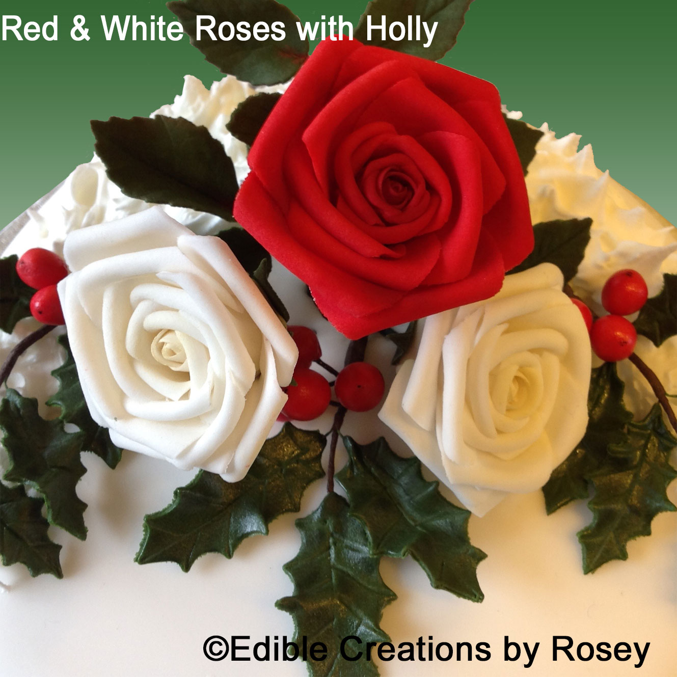 Red & white roses with holly