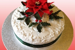 Christmas cake - Poinsettia and holly