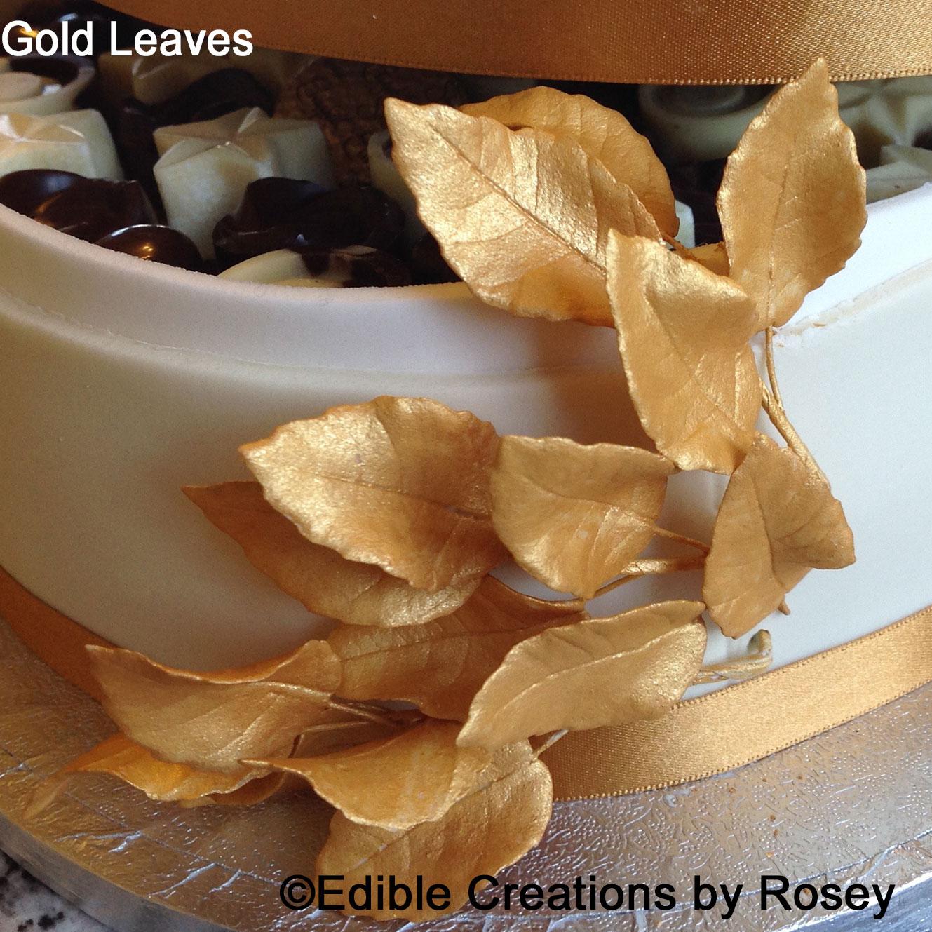 Gold Sugarpaste Leaves