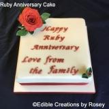 Square Ruby Anniversary Cake