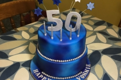 Blue and Silver 50th Birthday Cake