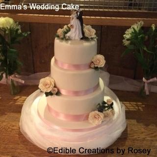 Three Tier Ivory & Pink Blush Rose Wedding Cake