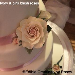Ivory & Pink Blush Sugarpaste Roses