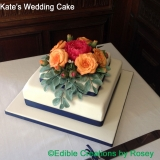 Peony and roses wedding cake