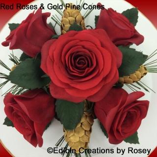 Sugarpaste Red Roses & Gold Pine Cones