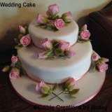 Two Tier Pink Roses Wedding Cake