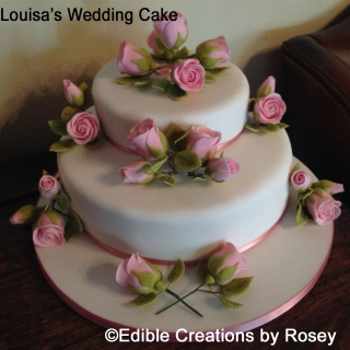 Pale pink roses wedding cake