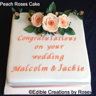 Peach Roses Congratulations Cake