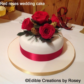 Red Roses & Gold Pine Cones Wedding Cake