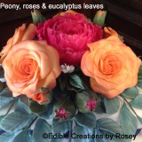 Sugarpaste roses and peony
