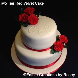 Two Tier Red Velvet Wedding Cake