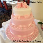 Baby girl christening text with baby booties and sugarpaste daisies